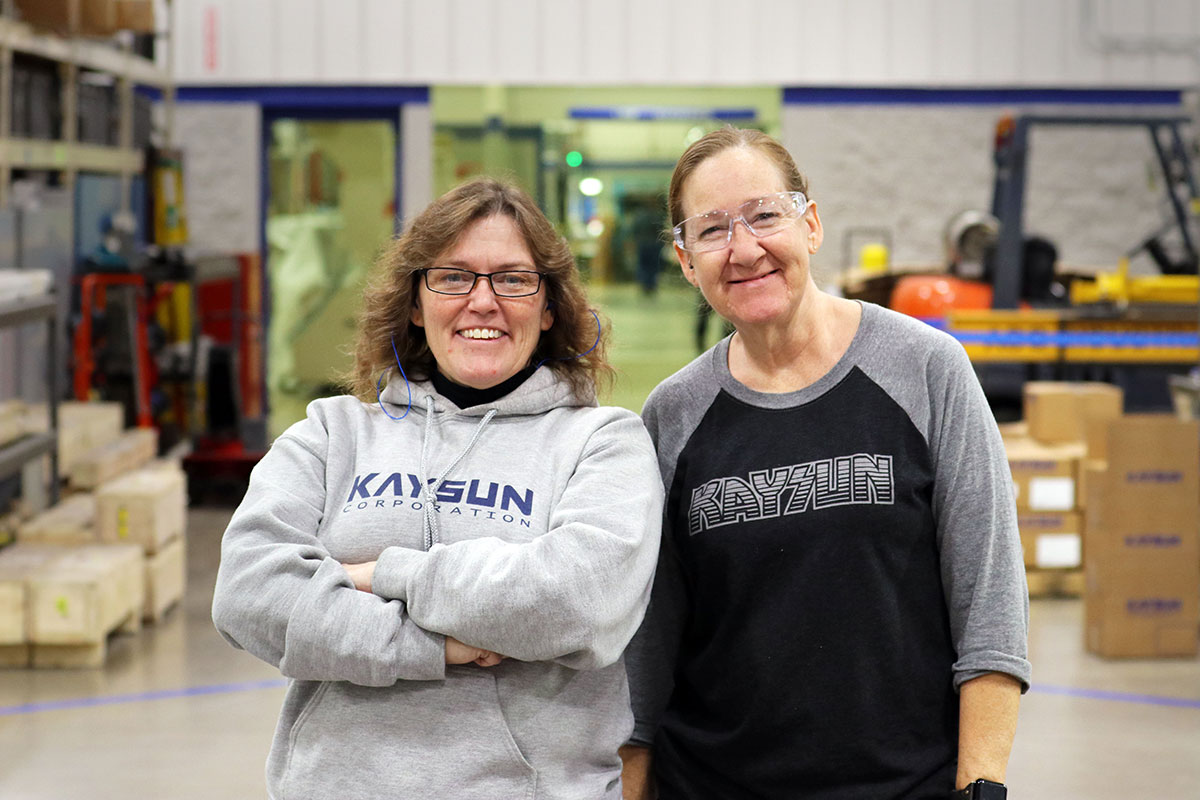 Two Kaysun employees on the shop floor