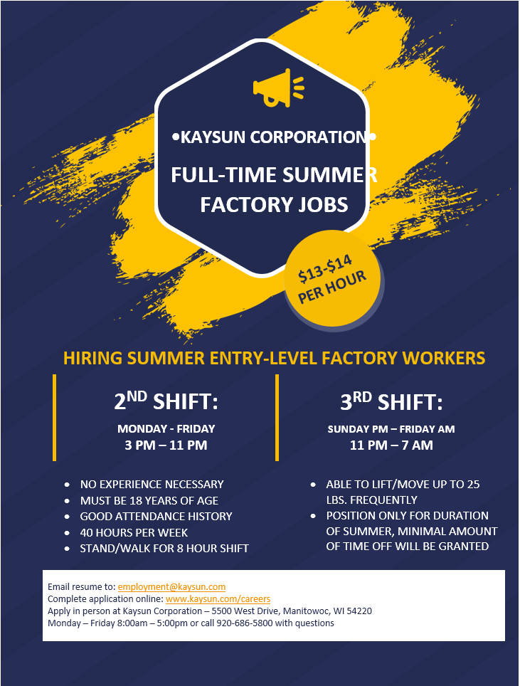 Kaysun Summer Full Time Openings 2021 2nd-3rd