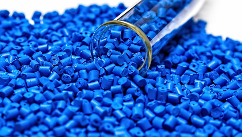 blue plastic pellets